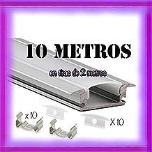 Perfil de empotrar aluminio para LED tira con difusor opaco PACK 10 metros con soporte de montaje U