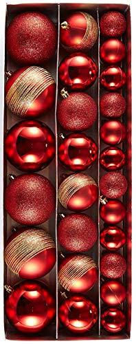 HEITMANN DECO 26er Set Christbaumkugeln 4/6/8 cm Weihnachtsdeko - Weihnachtsschmuck zum Aufhängen in Verschiedenen Größen - Kunststoffkugeln Rot/Gold