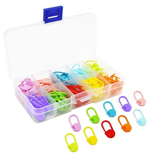 Top-Spring 120pcs Marqueurs Points avec Boîte à Compartiments,pour Crochetés et Projets Tricotés, 10 Couleurs
