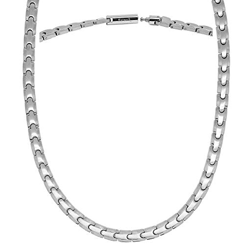 MagnetRX® Titanium Magnetic Therapy Necklace - Natural Pain Relief for Neck Arthritis, Back, Shoulder Pain, Headache and Migraine Relief Magnetic Necklace (Silver, 21.5 Inches)