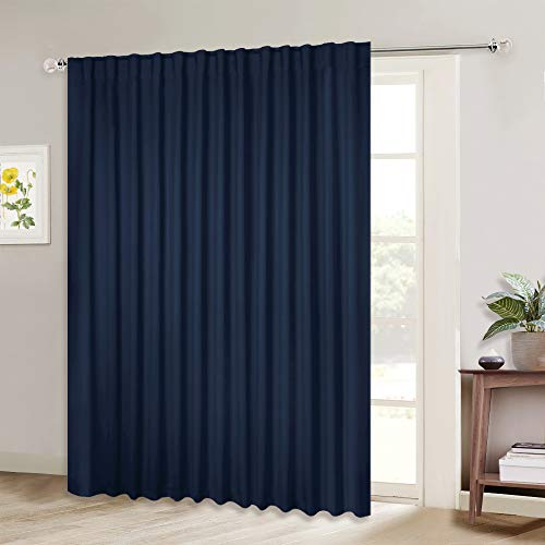 NICETOWN Blackout Wide Sliding Door Curtains - Insulated Noise Reduction Drapes, Privacy Vertical Blind for Living Room & Bedroom (Navy, W100 x L95 inches, 1 Panel)