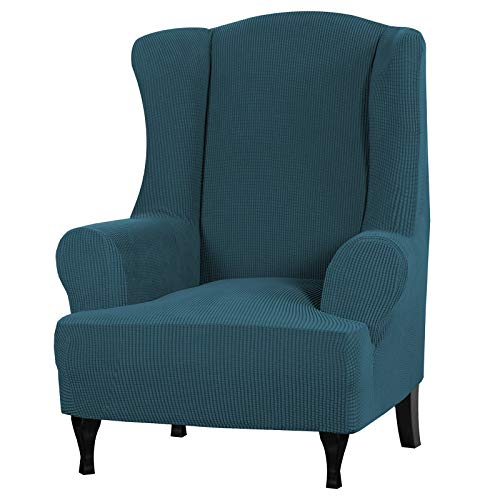 Stretch Wingback Chair Covers Wing Chair Slipcover Wing Chair Covers Furniture Covers for Wingback Chairs, Furniture Cover Feature Soft Thick Small Checked Jacquard Fabric Washable, Deep Teal