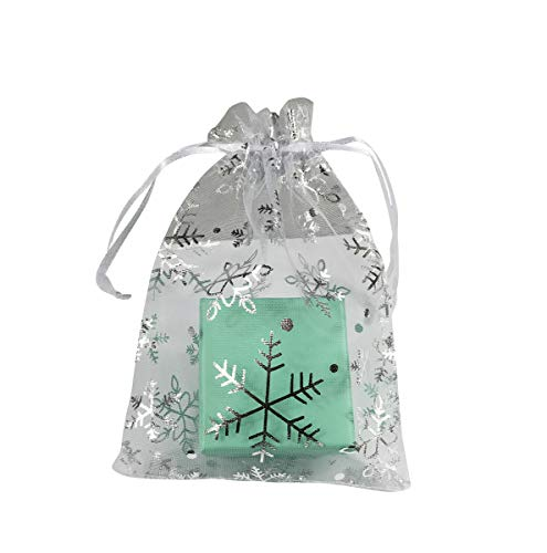 """KINGWEDDING 3""""x4"""" 8x10cm Organza Drawstring Strong Candy Jewelry Pouch Gift Bag For Party Wedding Favor (100Pcs) (Snowflake)"""