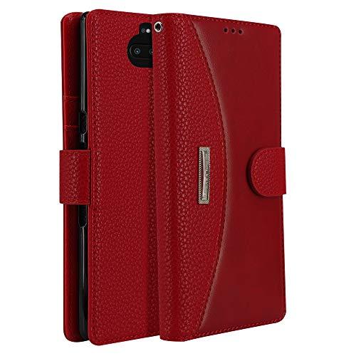 LOKAKA Leder Handyhülle für Sony Xperia 10 Plus, Handyhülle Handystand Kartenfächern Luxuriöse Aussehen Leder Flip Cover Brieftasche Etui Schutzhülle für Sony Xperia 10 Plus - Rot