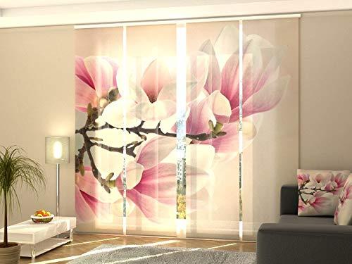 Wellmira - Tenda a Pannello con Stampa Fotografica su Misura, Motivo Decorativo, Gabardine, 4X 225x50 cm