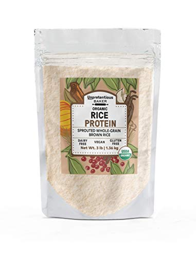 Organic Rice Protein Powder, 3 lbs by Unpretentious Baker, Sustainably Sourced, Vegan & Gluten-Free Alternative to Whey or Soy Protein to Assist with Post-Training Recovery