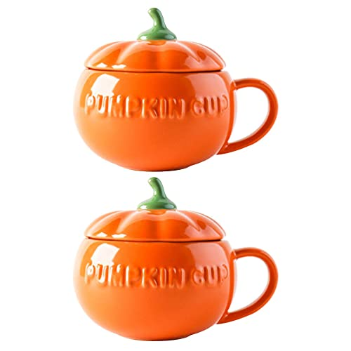 YARNOW 2 Pzas Halloween Calabaza Taza Cerámica Taza de Café Leche Taza de Agua con Tapa Otoño Oatmeal Tazas Caramelo Galleta Puede Condimento Contenedor para Halloween Decoración Naranja