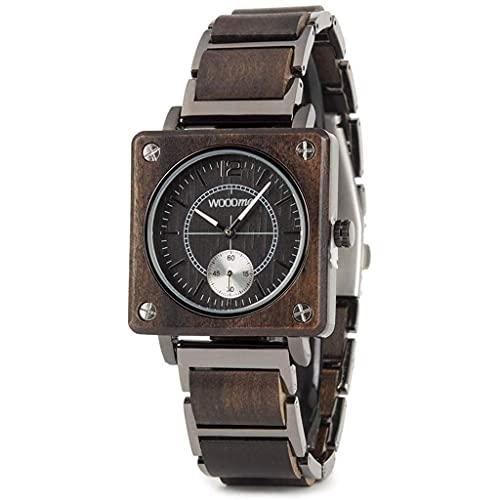 NZDY Reloj de madera para hombres, mujeres, acero inoxidable, reloj de madera natural, cronógrafo, relojes de pulsera de cuarzo japoneses militares con Uni,C