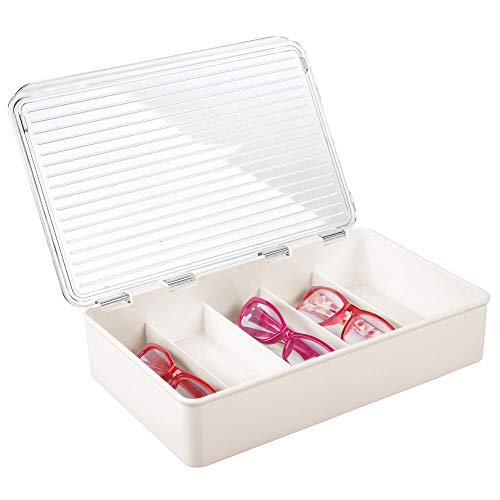 mDesign - Presentatiedoos voor brillen - brillendoos/opbergbox - met 5 compartimenten/voor maximaal 5 brillen - crème/doorzichtig