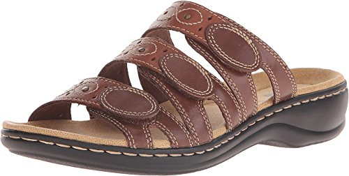 Clarks Women's Leisa Cacti Slide Sandal, Brown/Multi, 5.5 M US