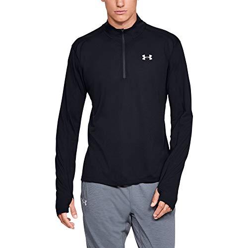 Under Armour Herren Streaker 2.0 atmungsaktives Sportshirt mit Half Zip, schnelltrocknendes Funktionsshirt mit Reißverschluss, Schwarz, Large