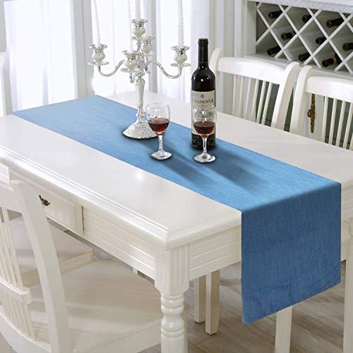 AAYU Blue Denim Table Runner | Stone Washed Premium Quality (33 cm X 182.8 cm - Light Wash)