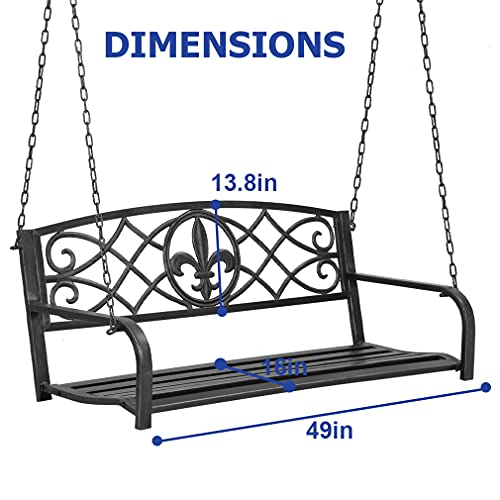 Porch Swing,Metal Porch Bench,Outdoor Porch Swing Hanging Steel Patio Bench with Floral Accent Metal Swing for Patio Outdoor Bench Metal Bench Park Bench Garden Deck