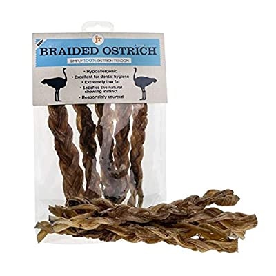JR Pet Products (5 x 7 Inch) 100% Ostrich Meat Braided Tendon Twisters Long Lasting Dog Chew Treat High Protein & Low Fat