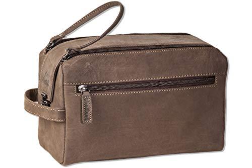 Woodland® Große Kulturtasche aus weichem, naturbelassenem Büffelleder in...