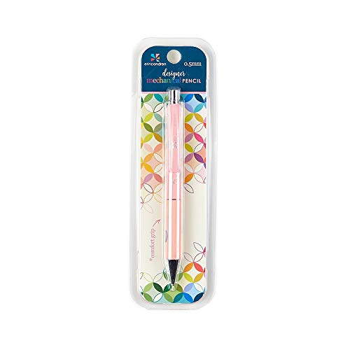 Erin Condren Designer Mechanical Pencil Compatible with 0.5mm HB Lead. Premium Comfort Grip, Includes Three Refills and Capped Eraser - Bubble Gum Design Theme