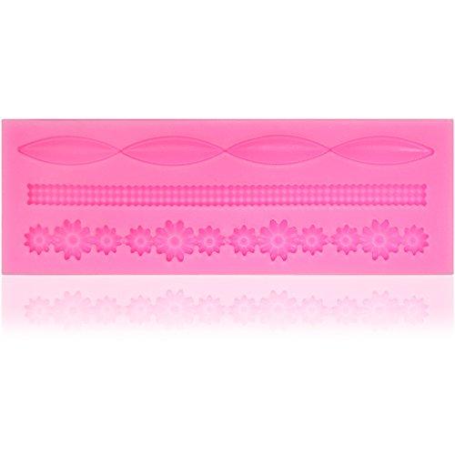com-four Bordure de moule en silicone avec différents motifs pour massepain et fondant - décoration de gâteaux faits maison (01 pièces bordure 4) (01 pièce - frontière 4)