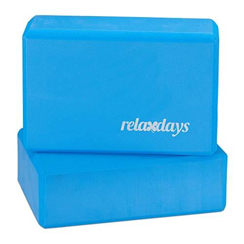 Relaxdays - Yogablöcke in Blau, Größe 8x23x15 cm