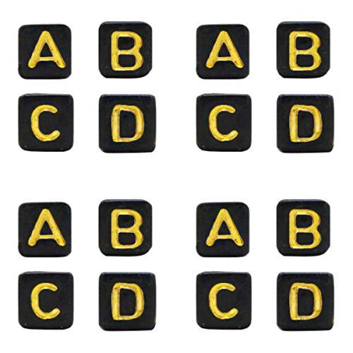 Sadingo Cuentas de letras en forma de cubo, 5 mm, 1000 unidades, color negro y dorado, cuentas rectangulares, pequeñas perlas acrílicas para enhebrar