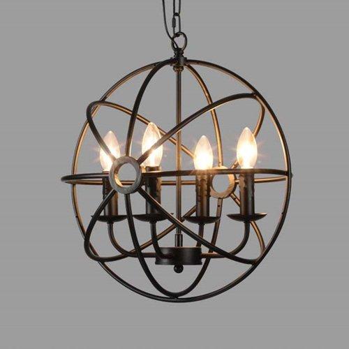 Hines Industrielle Vintage Retro LOFT Stil Schmiedeeisen Metall Globus Käfig Runde Pendelleuchte Leuchte Anhänger Kronleuchter verwenden 4 E14 Blubs