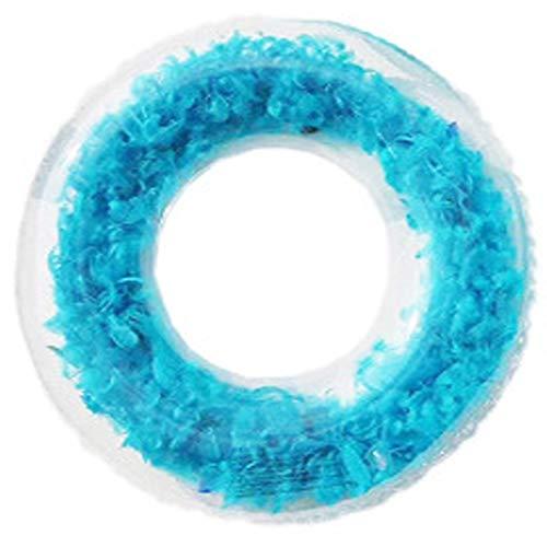 happylaladream 120cm うきわ 大人 浮き輪 特大浮き輪 羽 透明 海 プール (ブルー)
