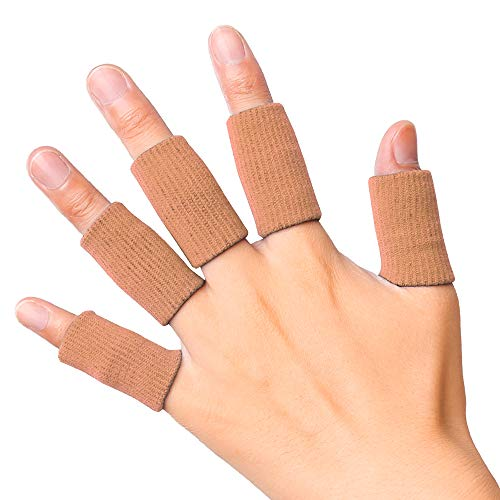 JBM Adult Finger Brace Splint Sleeve Thumb Support Protector Soft Comfortable Cushion Pressure Safe Elastic Breathable Spandex Finger Splints or Basketball Volleyball Baseball Badminton Tennis Boating GYM (Brown)