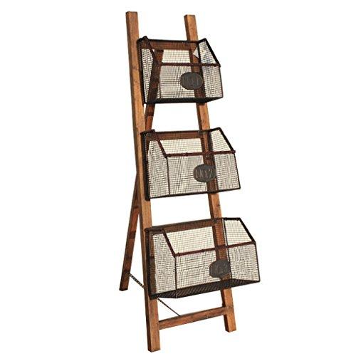 ZfgG Massivt trä smidesjärn bokhylla enkel vikbar tidningsställ golv förvaringsställ blomstativ