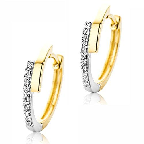 Orovi Damen Diamant Creolen Ohrringe 9 Karat (375) Zweifarb/Weißgold und Gelbgold Ohr-Schmuck Brillianten 0.09ct