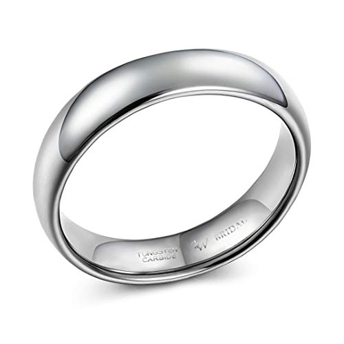 AW BRIDAL Comfort Fit Unisex Silver Super Heavy Court Shape Polished Wedding Band Rings for Men, Silver Ring, 5mm Size S