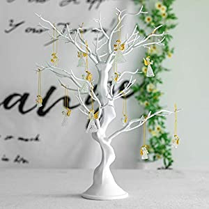 Sziqiqi White Artificial Tree for Tree Centerpiece for Weddings Christmas Birthday Party Home Indoor Outdoor Decoration 23 inches
