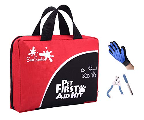 Pet First Aid Kit for Dogs & Cats + Bonus Grooming Glove & Pet Dog Nail Clippers and Trimmer | 85...