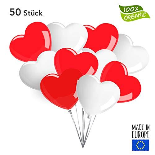 50 Premium Herzluftballons in Rot/Weiß - Made in EU - 100% Naturlatex und 100% biologisch abbaubar – Liebe Hochzeit Valentinstag - für Helium geeignet - twist4®