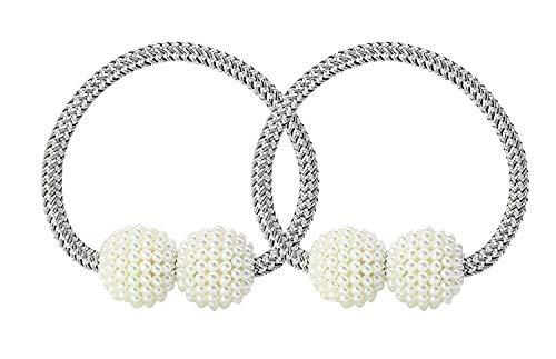 UTRO 2 Stücke Magnetische Vorhang Raffhalter Vorhang Clips Seil Rückwärtige Vorhang Halter Schnallen Vorhang Binder Vorhängehalter für Haus Dekoration (Silber-Grau 1)