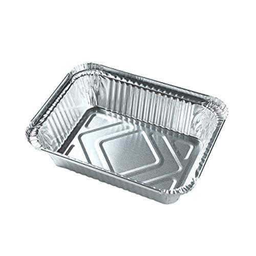20 bandejas de aluminio desechables ecológicas y duraderas, parrilla de aluminio apta para alimentos, lámina de aluminio especial para el hogar, para hornear, cocinar, hornear, asar (blanco)