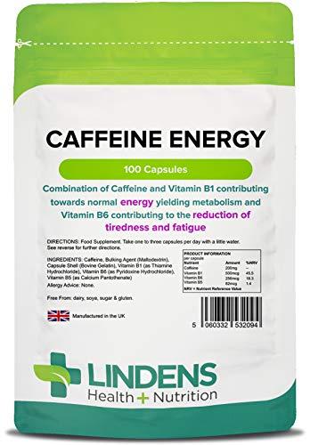 Lindens Caffeina Energia 200mg Pillole 100 Confezione Facile Da Inghiottire, Rapido Rilascio Capsula Ottima Boost Per Presto Mornings O Tardi Nights