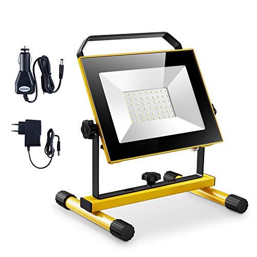 Faro ricaricabile a LED,Lampada da lavoro senza fili portatile da 20 W, 2000 LM IP65 impermeabile, luce di sicurezza di emergenza per giardino, pesca da campeggio in viaggio