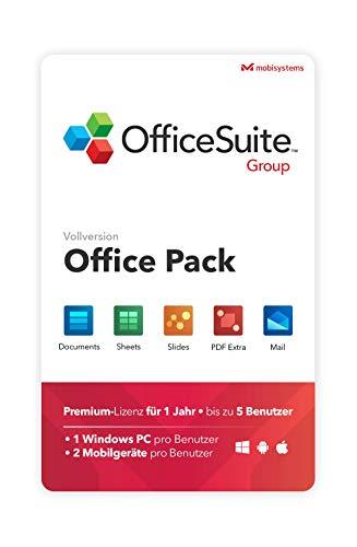 OfficeSuite Group – Vollversion – Kompatibel mit Microsoft® Office Word, Excel & PowerPoint® und Adobe PDF für PC Windows 10, 8.1, 8, 7 – 1 Jahr Lizenz, 5 Benutzer
