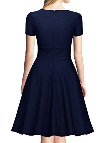Miusol Vintage 50er Kleid Knielang Ballkleid Rockabilly Cocktail Abendkleid Dunkelblau Gr.XXL - 2
