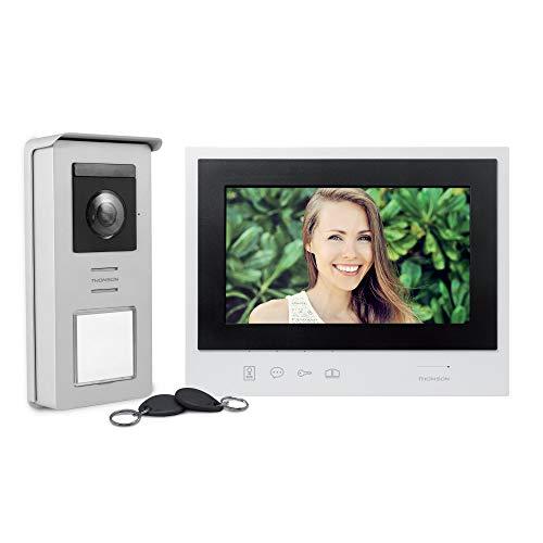 Thomson 512263 - Videoportero Smart Bracket 2, instalación Sencillo/rápida de 2 Hilos, Smart RFID, Memoria automática visitante (100 Fotos), función de montaña, visión Nocturna Led's Blanca