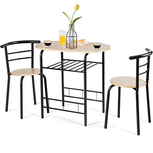 GOPLUS 3-teilige Essgruppe, Sitzgruppe mit 1 Tisch und 2 Stühlen, Esstisch Set, Balkonset aus Holz, Holztisch (Schwarz)