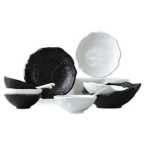N/Z Equipo Diario Textura de Piedra Juego de Platos Coreanos japoneses Vajilla de Cocina Combinación de Platos Blanco y Negro Juego de 12 Piezas Combinación