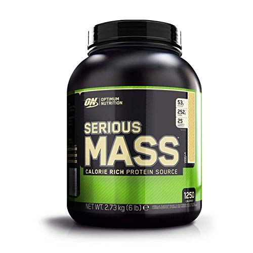 Optimum Nutrition ON Serious Mass Hochkalorisches Weight Gainer Protein Pulver mit Kohlenhydrate, Whey Protein, Vitaminen, Kreatin und Glutamin, Vanilla, 8 Portionen, 2.73kg