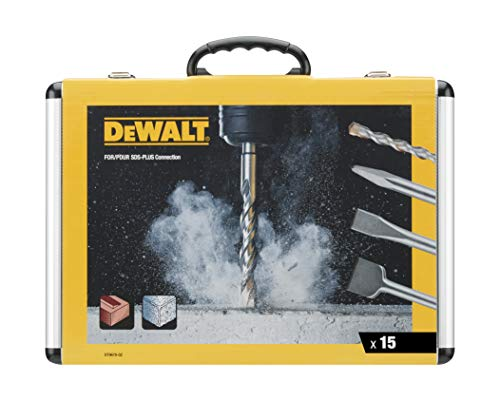 DeWalt Chisel and Drill Set, 15 Pieces SDS Plus: 4 x Flat chisels, 1 x Pointed Chisel, 10 x SDS Plus high Performance Drill bits, Including 1x Aluminium case, DT9679