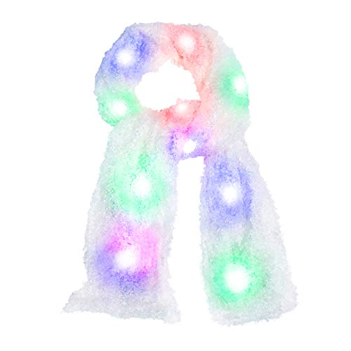 Luwint Colorful LED Flashing Plush Scarf - Lights Up Rave Clothing Accessories Cool Glow Novelty Austism Toys for Halloween Costume Party Game Ideas for Boys Girls (White)