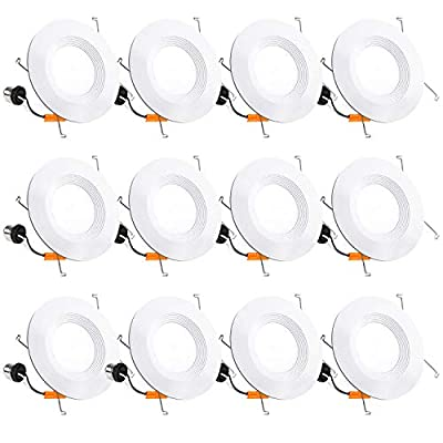 12 Pack 5/6 Inch LED Recessed Lighting, Baffle Trim, CRI90, 15W=100W, 1100lm, 3000K Warm White, Dimmable Recessed Lighting, Damp Rated LED Recessed Downlight, ETL Listed