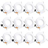 12 Pack 5/6 Inch LED Recessed Lighting, Baffle Trim, CRI90, 15W=100W, 1100lm, 5000K Daylight White,...