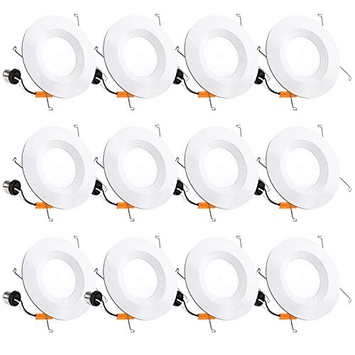 Hykolity 12 Pack 5/6 Inch LED Recessed Lighting, Baffle Trim, CRI90, 15W=100W, 1100lm, 5000K Daylight White, Dimmable Recessed Lighting, Damp Rated LED Recessed Downlight, ETL Listed