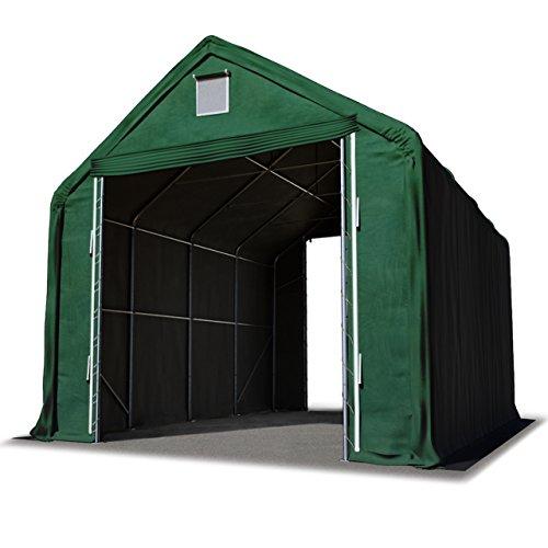 TOOLPORT Lagerzelt Zelthalle 5 x 10 m/Seitenhöhe 3m in dunkelgrün Industriezelt mit feuersicherer ca. 720 g/m² PVC Plane