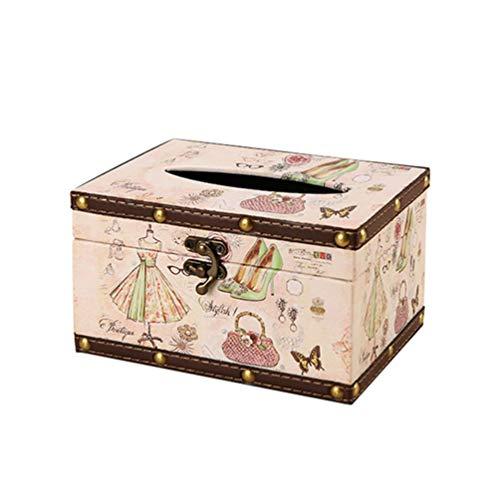 TOPBATHY Lederen Tissue Box Houder Jurk Schoenen Handtas Patroon Tissue Box Cover Vintage Napkin Organizer Waterdichte Tissue Organizer Box voor Badkamer Keuken Woonkamer Auto