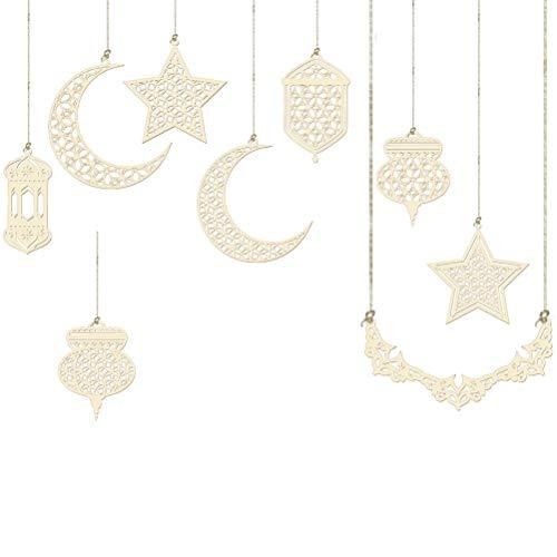 WSTERAO Adorno Colgante de Madera Adorno Eid Decoraciones de Bricolaje, Ramadán de Madera Eid Mubarak Luna Estrella Islam Placa Colgante para Boda Hogar Jardín Navidad